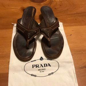 Prada Brown Leather Sandals Size 8.5